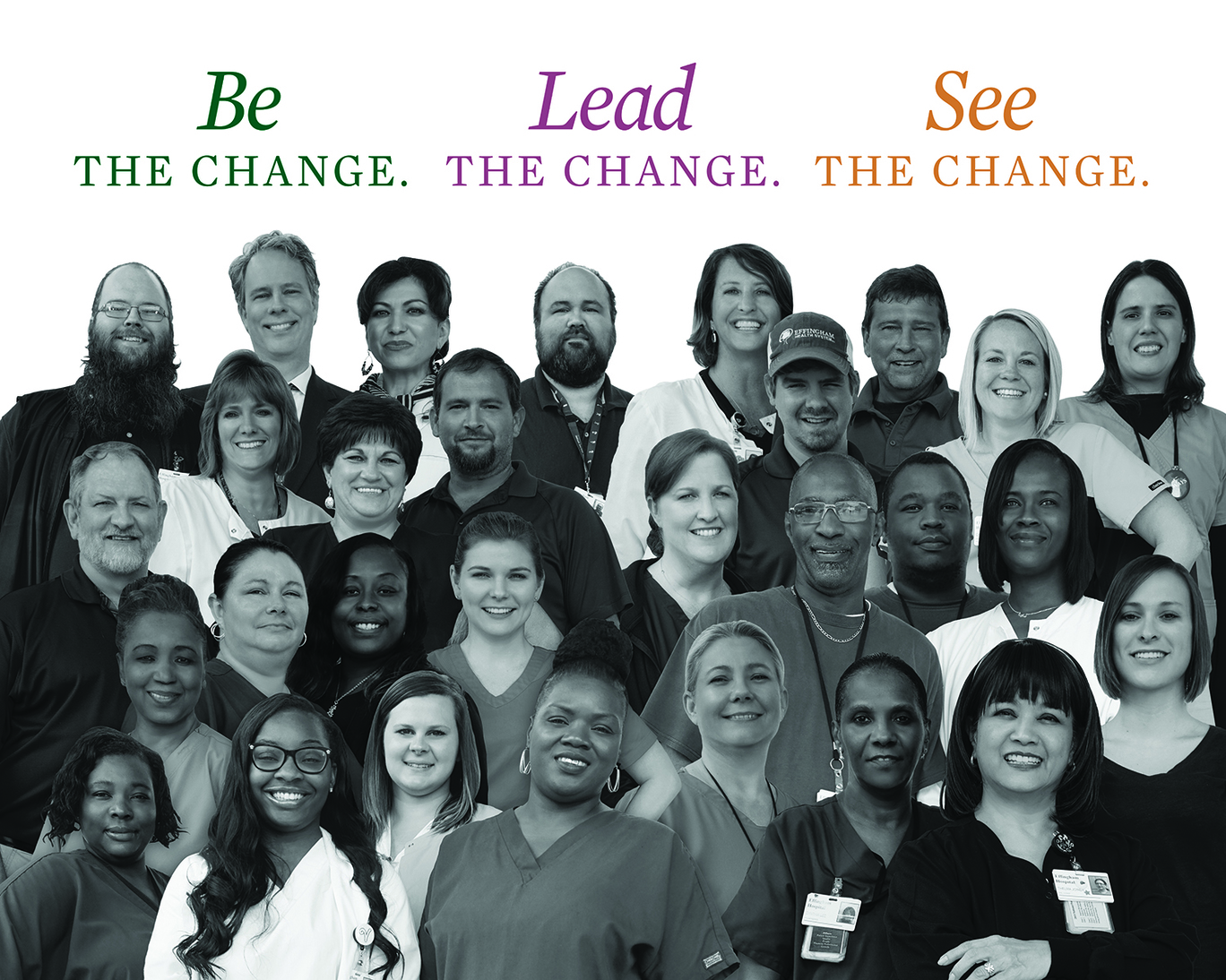 Group of EHS Employees with copy: Be the Change. Lead the Change. See the Change.